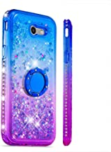 Case for Galaxy J3 (2017),Soft TPU Finger Ring Holder Case Diamond-Set Side Flowing Liquid Quicksand Sparkle Glitter Moving Sequins Compatible with Samsung Galaxy J3 (2017)/J3 Prime/J3 Emerge/J327