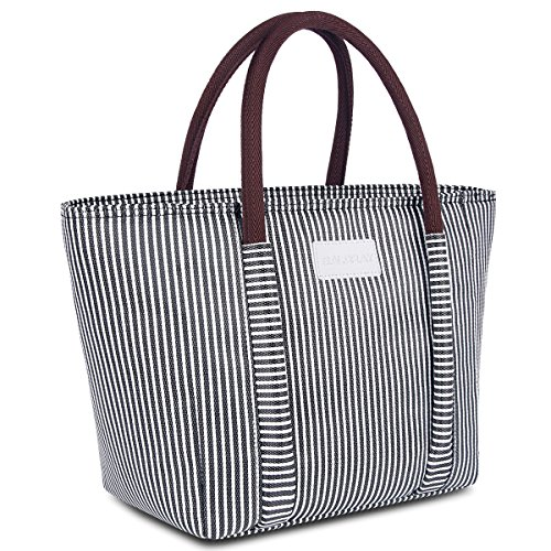 BALORAY Insulated Lunch Bag Leak-proof Cooler Bag lunch bag for Women Lunch Tote Bag Insulated Lunch Bag (G-215 Black&White strip)