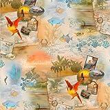 Fat Quarter Tropical Dreams Karten Papageien, Baumwolle,,