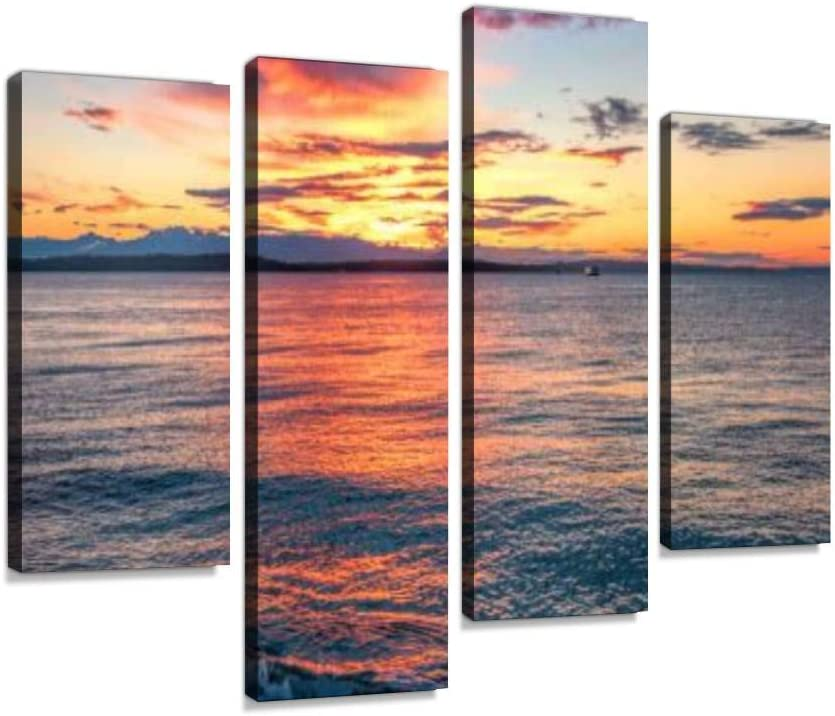 Glowing Sunset Over Puget Sound Canvas Art New Free Shipping Wall Deluxe Painting Hanging