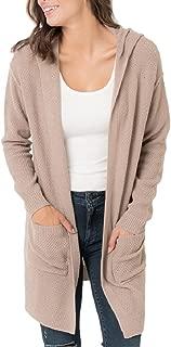 Youxiua Womens Oversized Cardigans Casual Open Front Boyfriend Hooded Knit Split Sweater Cardigan with Pockets