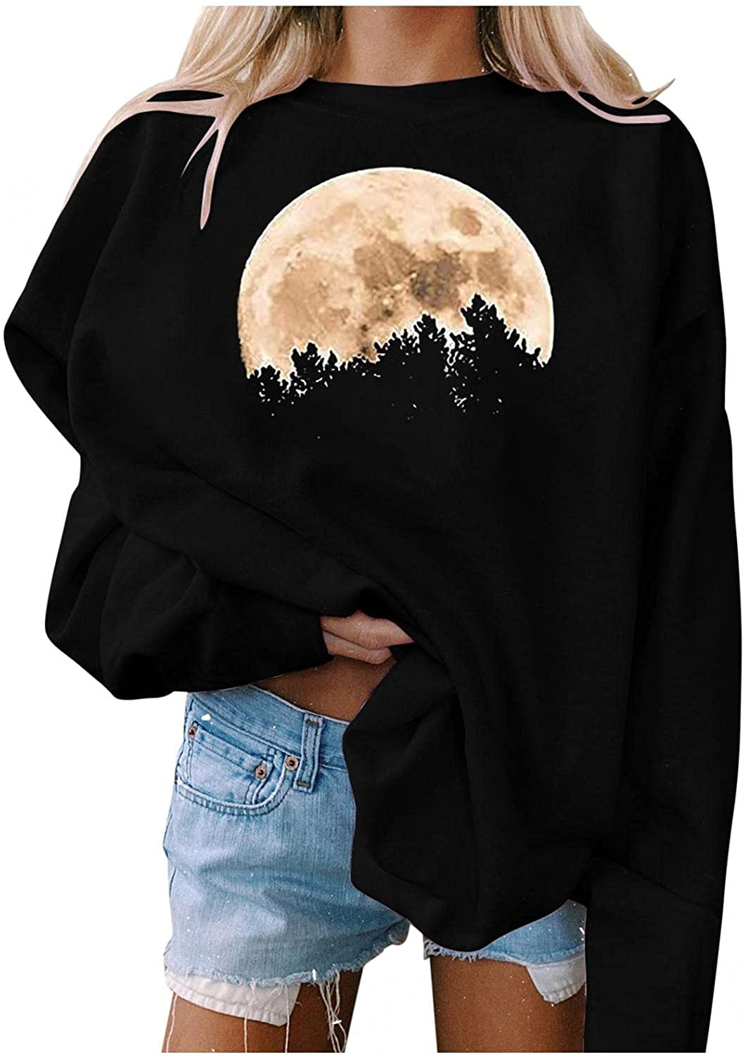 FABIURT Sweatshirt for Women,Womens Tops and Blouses Casual Moon Tees Long Sleeve Loose Fit Tshirts Workout Exercise