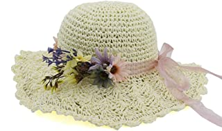 HaiNing Zheng Summer Women Straw Bucket Hat Lady Hademade Outdoor Flower Beach Sun Hat