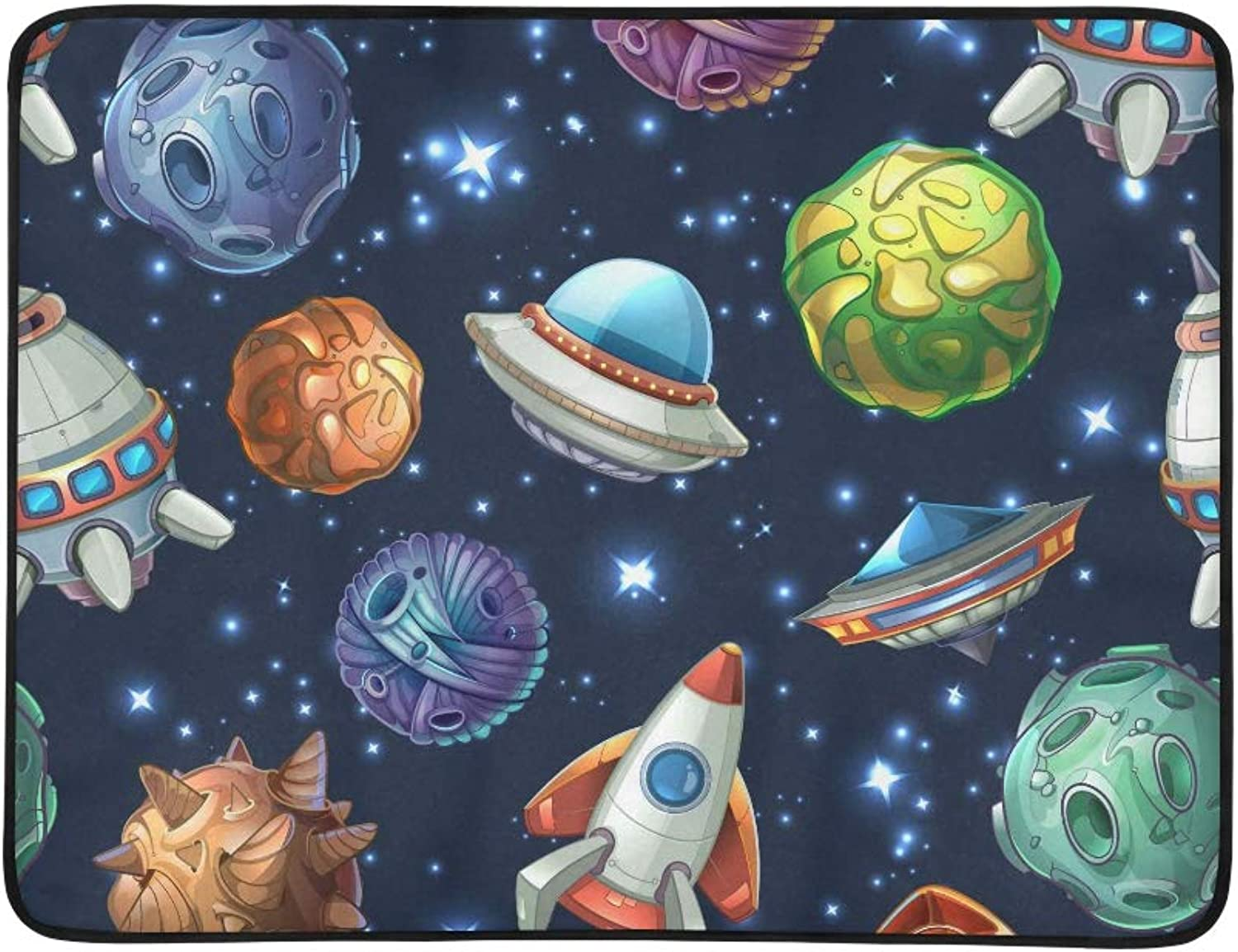 Comic Space Planets and Spaceships Origin Pattern Portable and Foldable Blanket Mat 60x78 Inch Handy Mat for Camping Picnic Beach Indoor Outdoor Travel