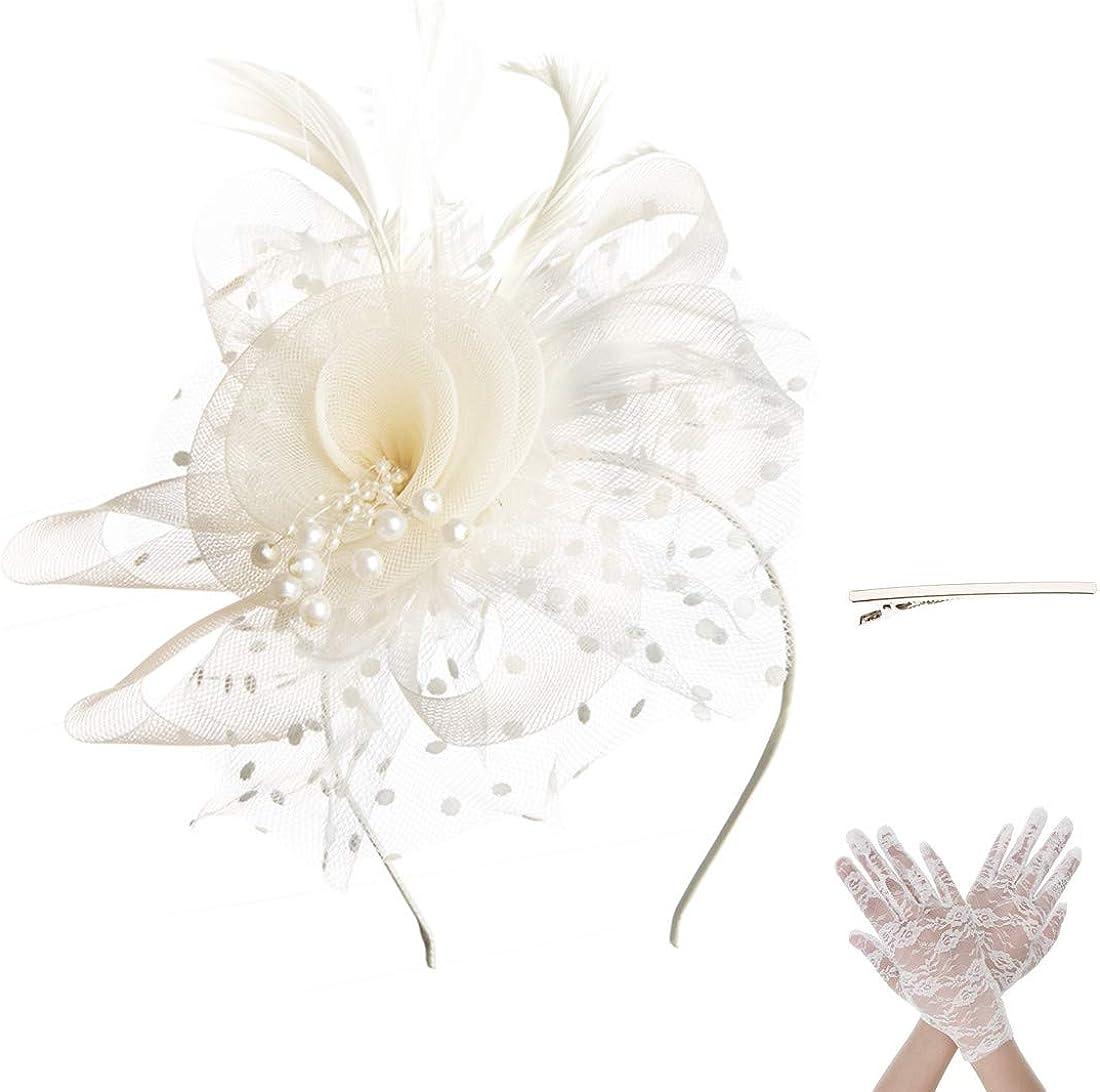 SAFERIN Fascinator Hair Clip Hat Bowler Feather Flower Veil Wedd