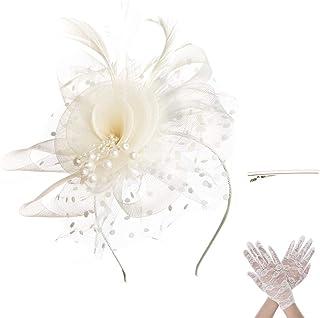 SAFERIN Fascinator Hair Clip Pillbox Hat Bowler Feather Flower Veil Wedding Party Hat Tea Hat