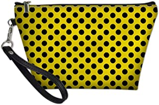 Women Cute Pretty Polka Dot Clutch Toiletry Bag Travel Kit Cosmetic Makeup Case, Yellow Black Polka Dot (Yellow Black Polka Dot) - PA-Z8-01-HBC19060Z8