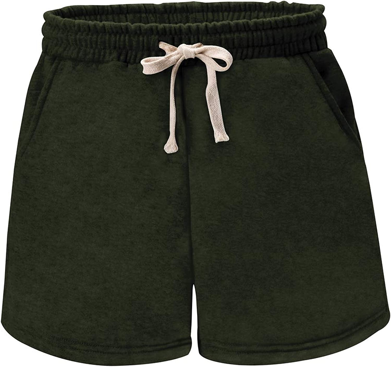 Women's Soft Knit Elastic Waist Jersey Bermuda Shorts with Drawstring 809