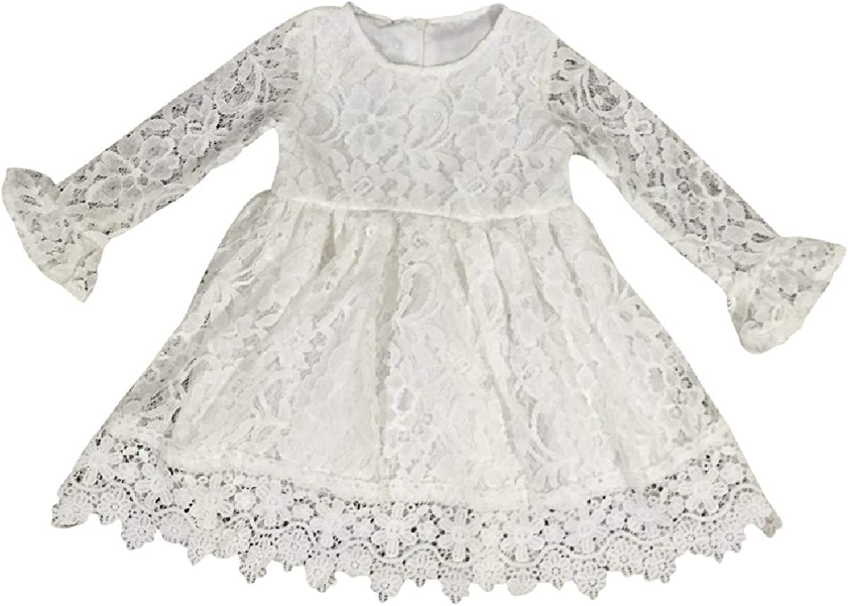 BluNight Collection Little Girl Long Sleeve Floral Lace Communion Baptism Flower Girl Dress 2T-8