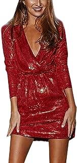 PASATO Women Sexy Deep V Neck Dress Long Sleeve Short Bodycon Club Wear Nightgowns Party Mini Dresses
