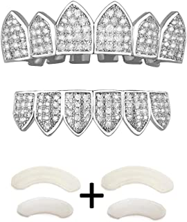 Gold Grillz Teeth Set CZ Diamonds Grillz 24k Plated Gold Top & Bottom Grill Hip Hop Bling Iced Out Grillz for Son + Extra Molding Bars + Microfiber Cloth