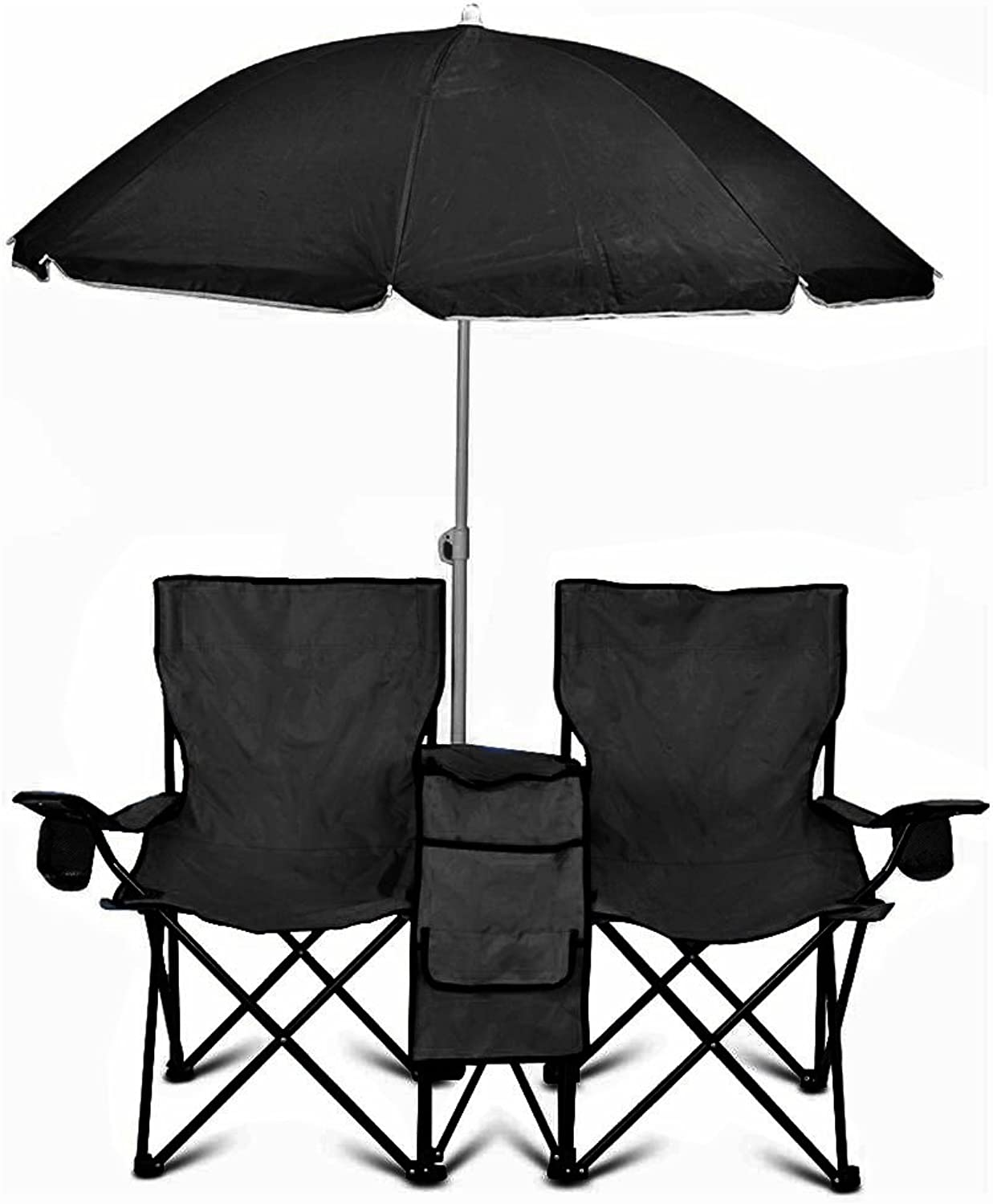 GoTeam Portable Double Folding Chair w Removable Umbrella, Cooler Bag and Carry Case - Black