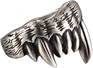 New Men's The Sharp Teeth of Beasts Bear Claw Stainless Steel Punk Rock Ring