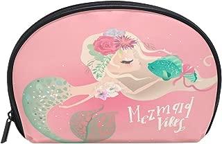 ALAZA Mermaid Fish Half Moon Cosmetic Makeup Toiletry Bag Pouch Travel Handy Purse Organizer Bag for Women Girls