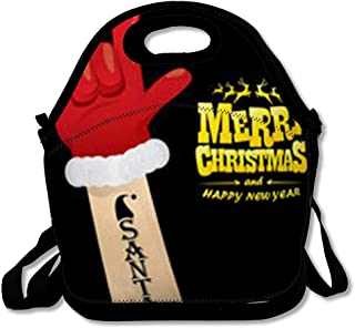 Insulated Lunch Bag for Adult Men Women Holidays Red Merry Santa Claus Hand Rock Rockstar Christmas Kids Badge Band Button Reuable Lunch Tote Box for Work and School