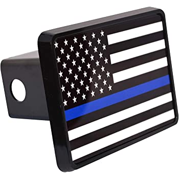 Graphics and More Thin Blue Line American Flag Tow Trailer Hitch Cover Plug Insert 2