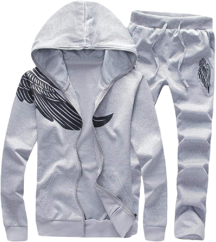 HowmeMen Zip Up Plus Size 2 Piece Running Hooded Sweatshirt Pant Set