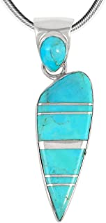 Turquoise Pendant Necklace in Sterling Silver 925 & Genuine Turquoise (Select Style)