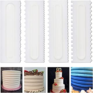 4 Pcs/set Cake Scraper Cake Decorating Comb Mousse Butter Cream Cake Edge Tools Plastic Sawtooth Cake Scraper Kitchen Baki...