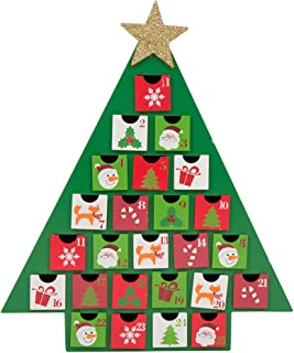 Glitzhome Christmas Wooden Countdown, Advent Calendar with Drawer, Green Tree