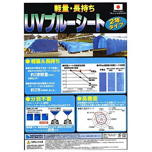 萩原工業 軽量・長持ち UVブルーシート 2年タイプ 3.6×5.4m (実寸サイズ)