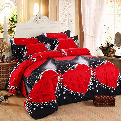 DOTBUY 3D Bettbezug Set, 4 Stück Super Weiche und Angenehme Mikrofaser Einfache Bettwäsche Set Gemütlich Enthalten Bettbezug Bettlaken & Kissenbezug Betten Schlafzimmer (200x230cm, Rot schwarz)