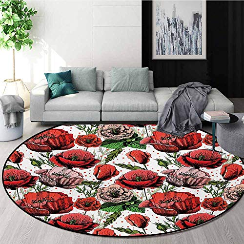 Purchase RUGSMAT Flower Non-Slip Area Rug Pad Round,Pattern with Colorful Poppy Flowers Polkadot Bac...