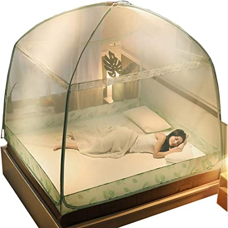 Komori ワンタッチ 蚊帳 折りたたみ式 底つき むかで 密度が高い 虫除け生地付き 害虫侵入防ぎ かや 収納便利