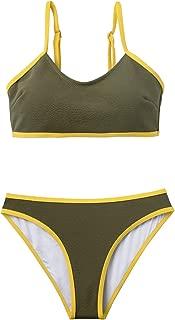 CUPSHE Women's Olive Green Yellow Block Bikini Padded Two Piece Swimwear