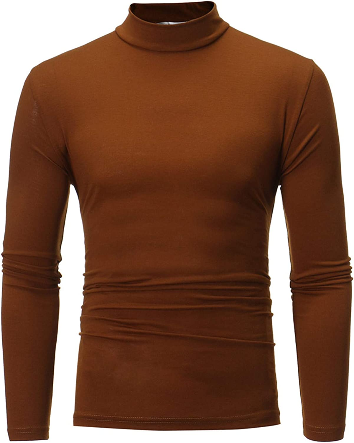 BEIBEIA Men Turtleneck A surprise price is realized Long Sleeve Tops Quantity limited Solid Stretch B Fit Slim