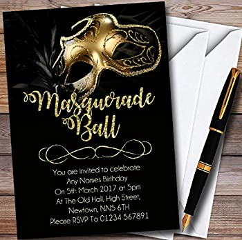 Golden Glitter Mask Masquerade Ball Personalized Party Invitations