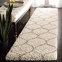 Arsh Fabs Modern Design Polyester Shaggy Bedside Runner, Soft Rug for Bedroom Living Room Kitchen (Ivory, 2x5 feet)