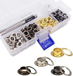 Wolfride Ösen-Set für Leder, Stoff, Segeltuch, 200 Sets Ösen, Werkzeug-Set, Gold, Silber, Schwarz, 6 mm Innendurchmesser