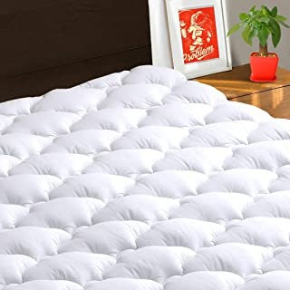 TEXARTIST Mattress Pad Cover Twin, Cooling Mattress Topper, 400 TC Cotton Pillow Top with 8-21