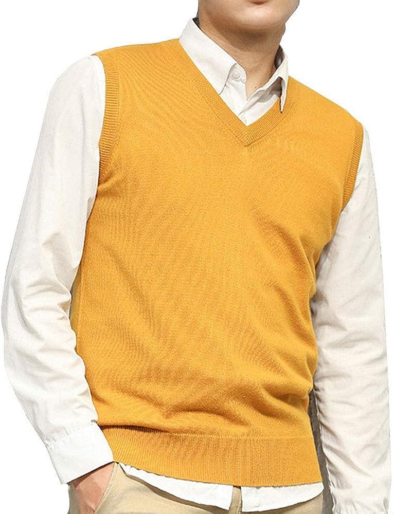 EVEDESIGN Men's Cashmere Wool Blend Sweater Vest Regular Fit Pullover Sleeveless Sweater