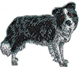 Embroidered Iron On Sew On Patch Border Collie Full Body Dog Breed Applique, 2 1/2' x 3 1/4'