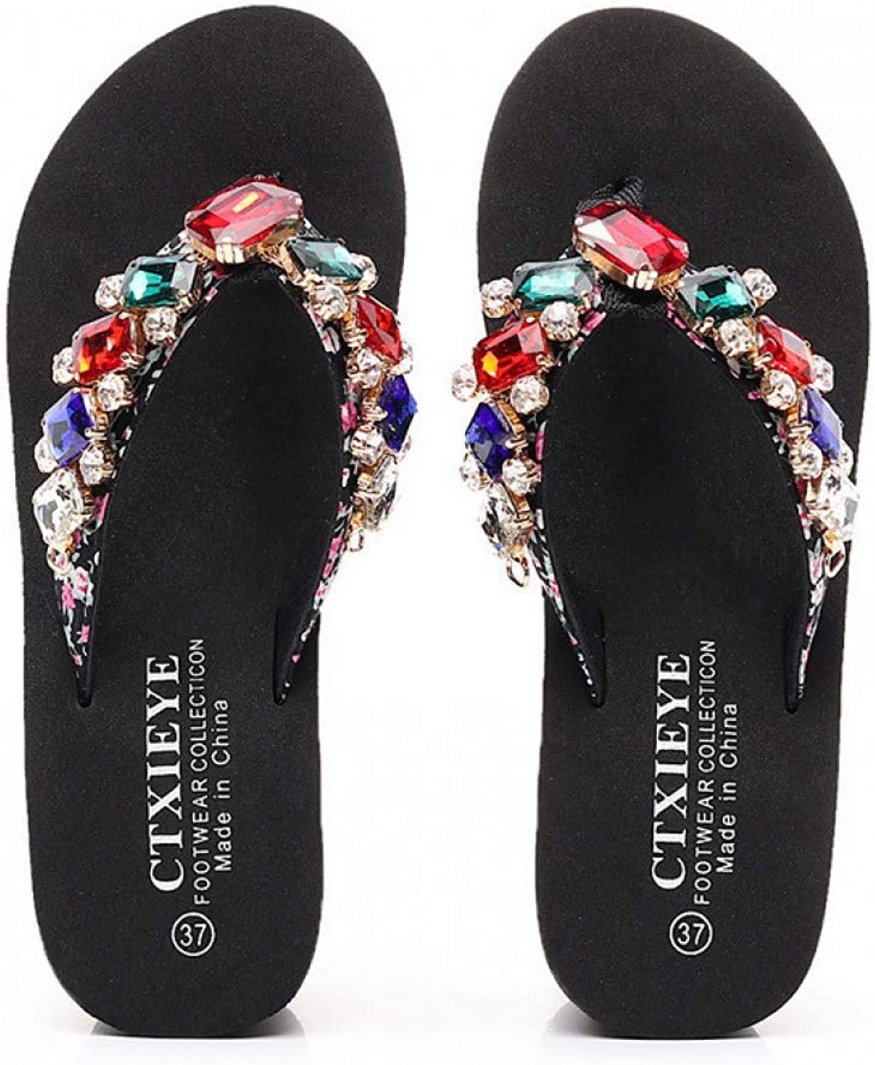 T-JULY Women Outside Flip Flops Beaded Crystal Casual Wedges Slides Slippers Fashion Summer Woman Beach shoes Sandals