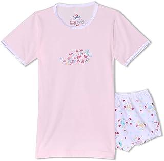 Papillon Heart Print Undershirt with Elastic Waist Panty Cotton Underwear Set for Girls, 2 Pieces