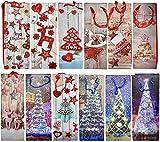12 Sacs Cadeaux de Vin de Noël Premium| Designs Festifs, Papier Robuste et Poignées Solides| Emballage Pochettes Cadeaux de Bouteille pour Vin, Prosecco, Champagne, Fêtes de Noël.