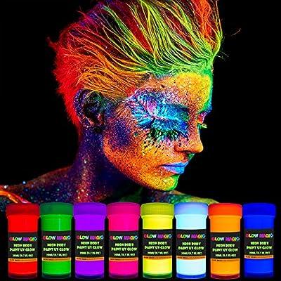 GLOW MAGIC Neon UV Body Paint Set - 8 x 0.7 fl oz - Black Light Make Up - Bodypainting Neonn Blacklight Bodypaint Face & Finger Paints