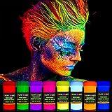 GLOW MAGIC Neon UV Body Paint Set – 8 x 0.7 fl oz – Black Light Make Up – Bodypainting Neon Blacklight Bodypaint Face & Finger Paints