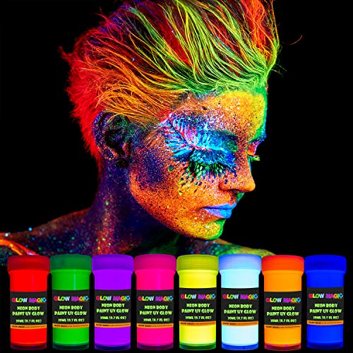GLOW MAGIC Neon UV Body Paint Set – 8 x 20 ml / 0.7 fl oz  – Black Light Make Up – Bodypainting Neon Blacklight Bodypaint Face & Finger Paints