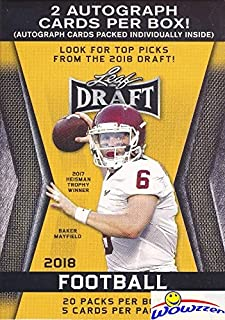 2018 Leaf Draft Football EXCLUSIVE HUGE Factory Sealed 20 Pack Retail Box with TWO(2) AUTOGRAPHS! Box Includes (100) ROOKI...