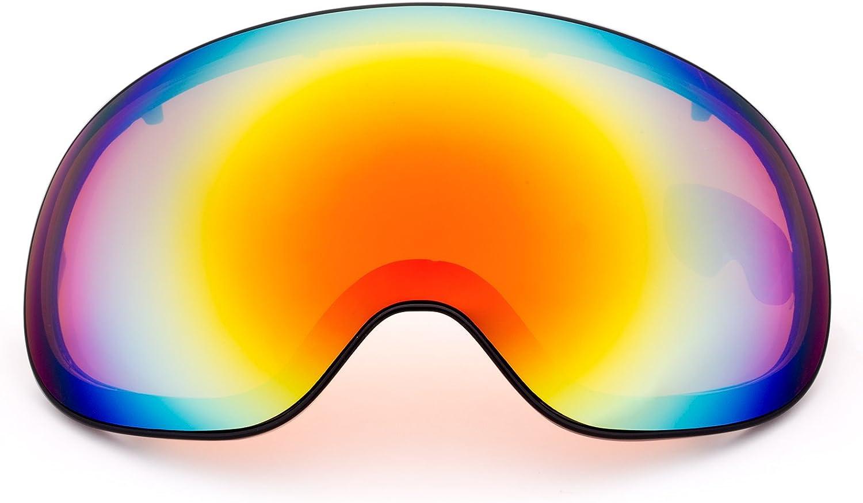 MEETLOCKS OTG Ski Goggles, 100% UV400 Predection, Antifog Windproof, Frameless Detachable Spherical Dual Lens & Case, for skiing, Snowboard, Snowboarding, Snowmobile Eyewear