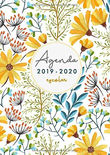 Agenda Escolar 2019-2020: Agenda Escolar Semana Vista 2019 2020 | El Calendario Semestral y Planificador de Estudios | Agenda 2019 - 2020 para el Nuevo año Académico Diseño flores