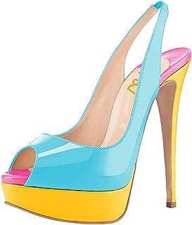 FSJ Women Awesome Platform Peep Toe Pumps Slingback High Heel Stilettos Prom Shoes Size 4-15 US