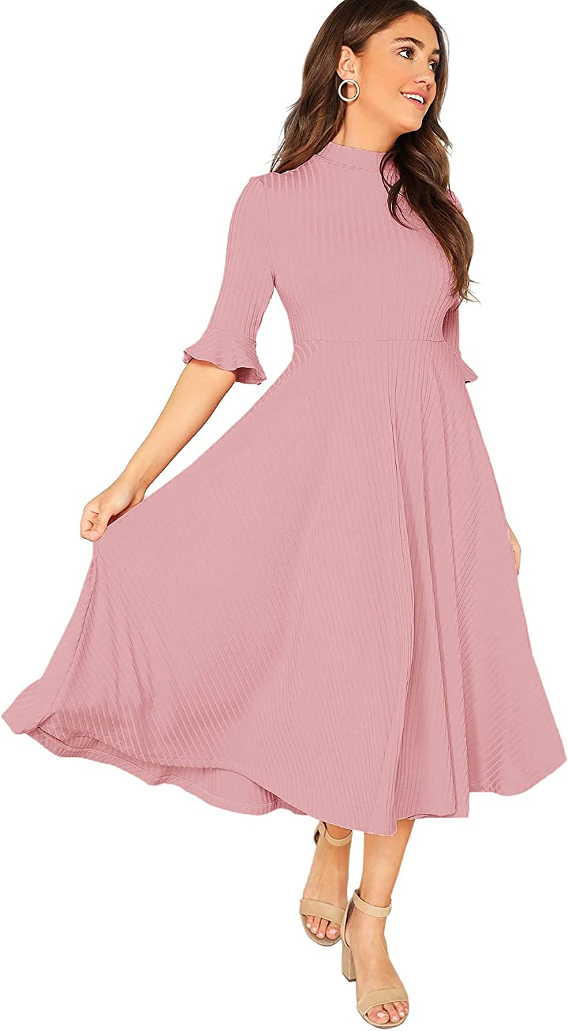 Verdusa Women's Elegant Ribbed Knit Bell Sleeve Fit and Flare Midi Dress
