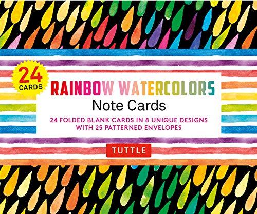 [画像:Rainbow Watercolors - 24 Note Cards: 24 Blank Cards in 8 Unique Designs With 25 Patterned Envelopes]