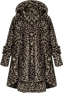 Mujer Plus Size Abrigo Casaca Chaqueta de Punto Chaquetas Liso/Punto/Rayas/Leopardo Capucha de Franela Suave Forro de Peludo Ropa de Abrigo Suelta