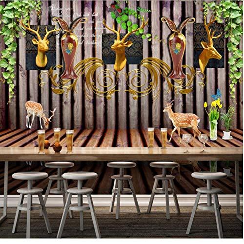 Dalxsh fotobehang, landelijke stijl, 3D-hertenkop, Amerikaanse landhuisstijl 200 x 140 cm